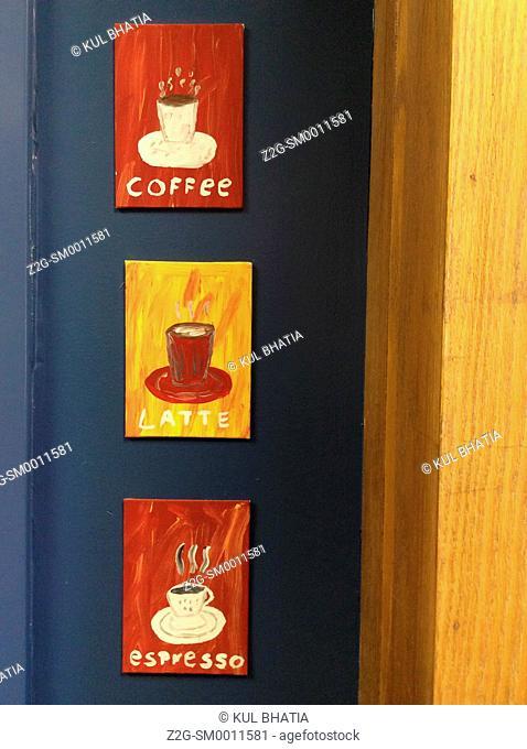 Artistic sign in a coffee shop, Ontario, Canada