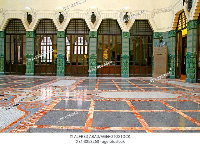 interior courtyard, building of the Municipal Conservatory of Music, 1916, architect Antoni de Falguera i Sivilla, Barcelona, Catalonia, Spain