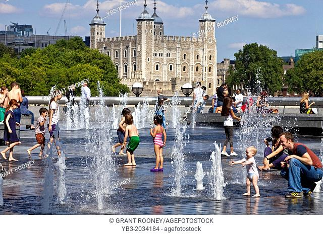 Children Playing In the Fountains near The Tower of London, London, England