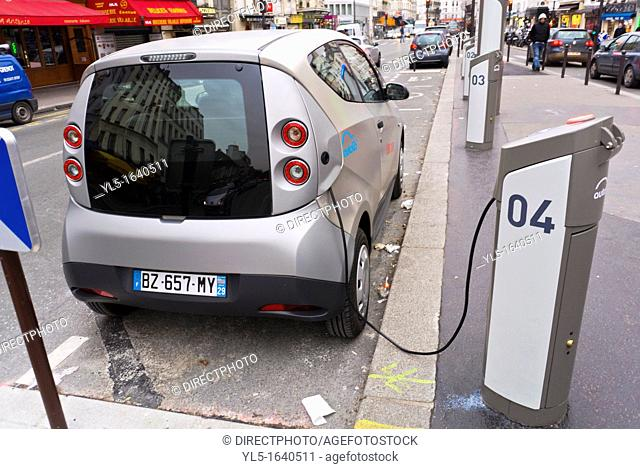 Paris, France, Autolib, Electric Car Sharing Scheme, Charging on Street