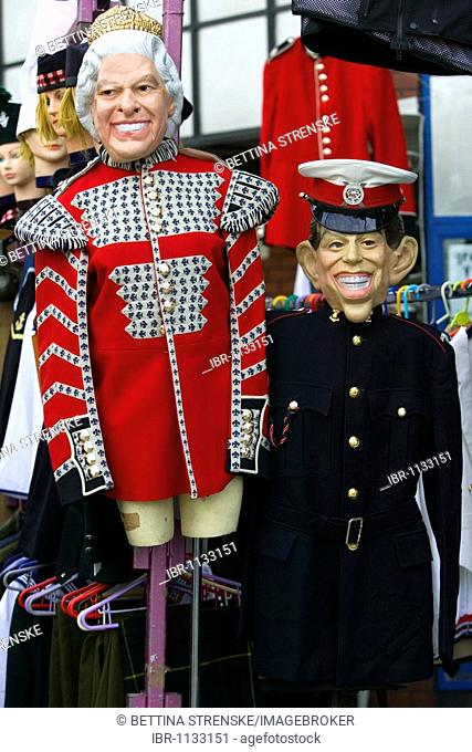 The Queen and Prince Charles, masks, Portobello Market, London, England, United Kingdom, Europe