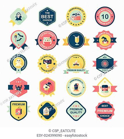 Halloween badge banner design flat background set, eps10