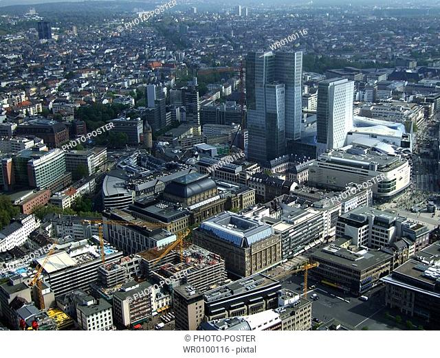 above the roofs of Frankfurt am Main