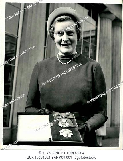Oct. 21, 1965 - The First Woman of the Order of St. Michael & George London: Dame Nancy Parkinson of the British Council is pictured outside Buckingham Palace...