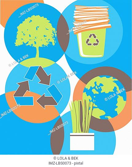 A collage about recycling showing a tree, recycled paper, the earth, a plant and the recycling symbol