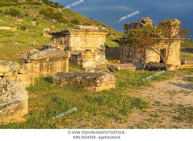 Necropolis, ruins of ancient Hierapolis, Pamukkale, Denizli Province, Turkey