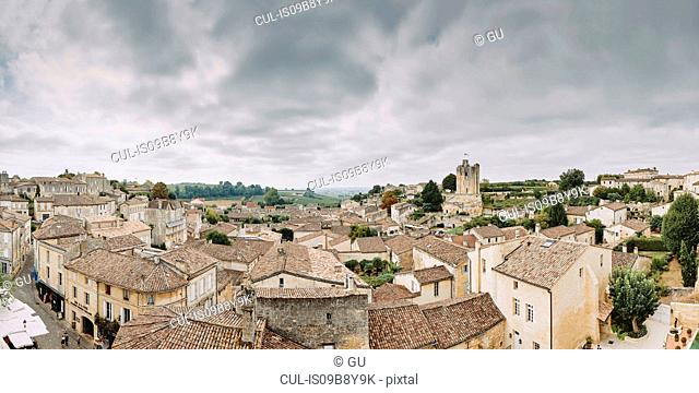 Elevated panoramic cityscape with rooftops and medieval buildings, Saint-Emilion, Aquitaine, France