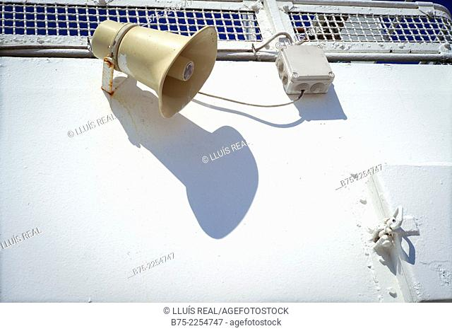 Speaker on the deck of a boat, Alcudia, Mallorca, Balearic Islands, Spain