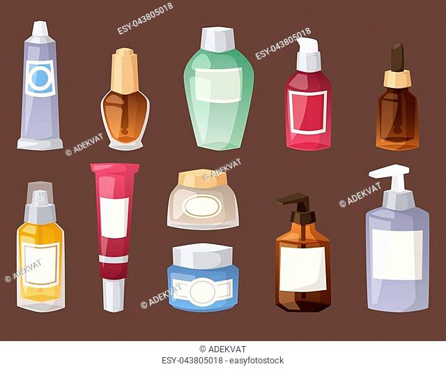 Group of bottles of cosmetic cosmetology makeup beauty supplies and cream container plastic detergent liquid domestic fluid bottle lotion pack vector...