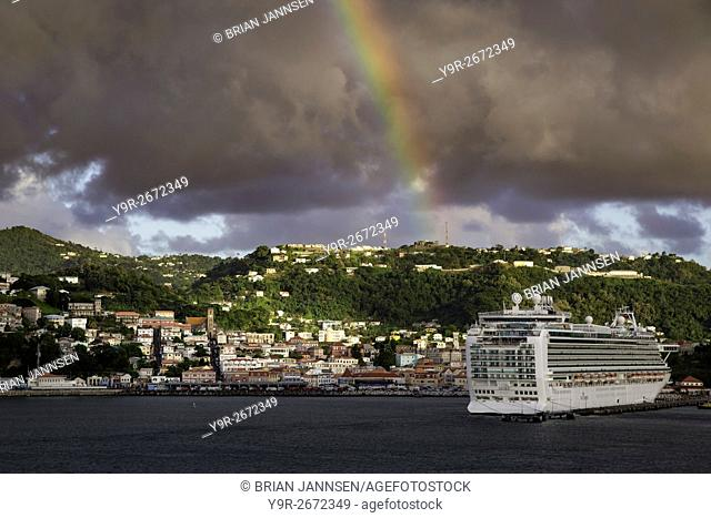 Rainbow, Stormclouds and Sunlight in St Georges, Grenada, West Indies