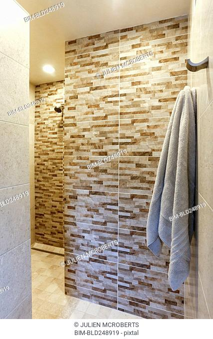 Towel hanging in luxury shower