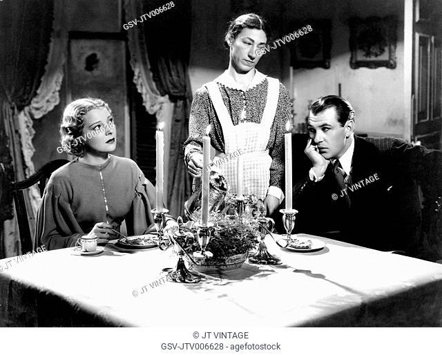 Helen Vinson, Hilda Vaughn, Gary Cooper, on-set of the Film The Wedding Night, 1935