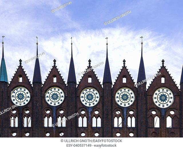 View of the historic medieval town hall of the Hanseatic City of Stralsund, Mecklenburg-Pomerania, Germany