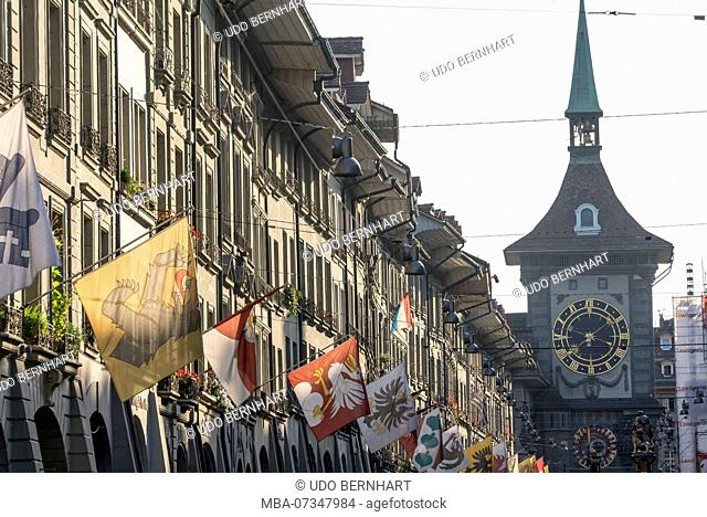 Old town Kramgasse with Zytglogge tower, Bern, canton Bern, Switzerland