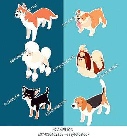 Vector set of isometric icons of various dogs