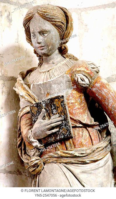 Statue of Sainte Apolline, church of Chaource, Aube, Champagne-Ardenne, France
