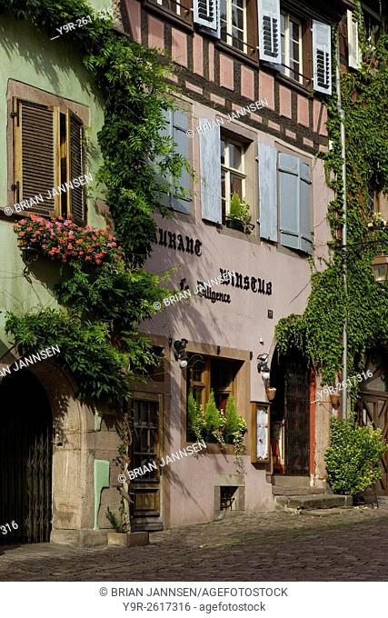 Buildings along main street in Riquewihr, Alsace, France