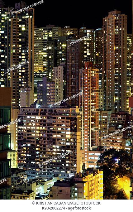 Residential Buildings in Hong Kong Island by night, Hong Kong, China, East Asia