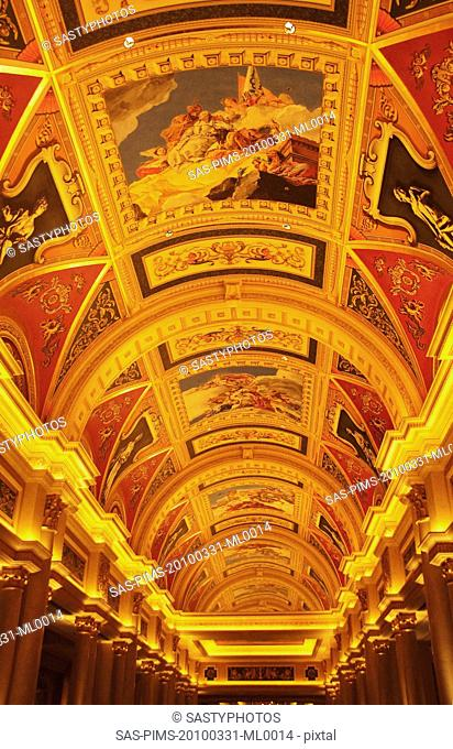 Mural on the ceiling of a hotel, The Venetian Macao, Macao, China