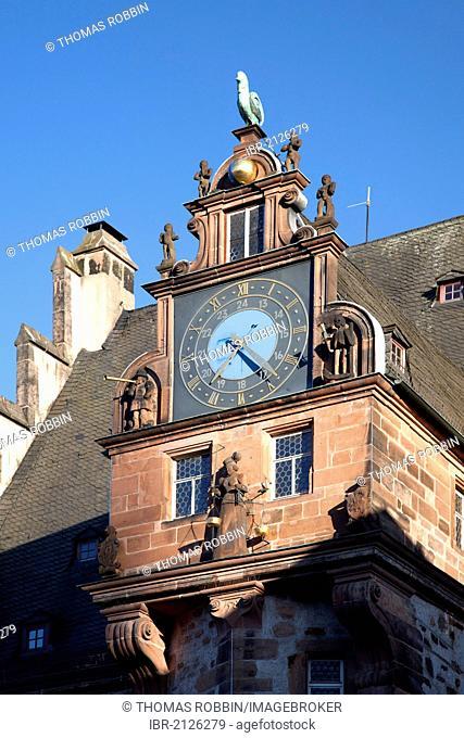 Town Hall, clock tower, Marburg, Hesse, Germany, Europe, PublicGround