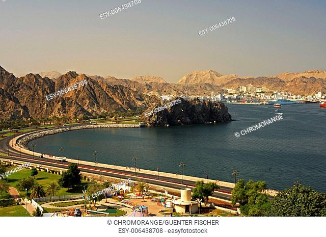 Harbor bassin with view on Muscat, Oman
