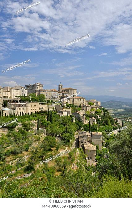Europe, France, Provence, Vaucluse, Gordes, town, village, vertical