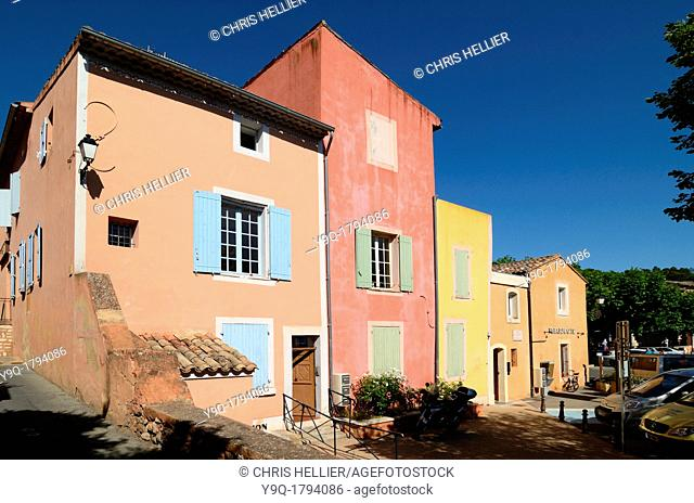 Colourful Houses at Roussillon in the Luberon Vaucluse Provence France