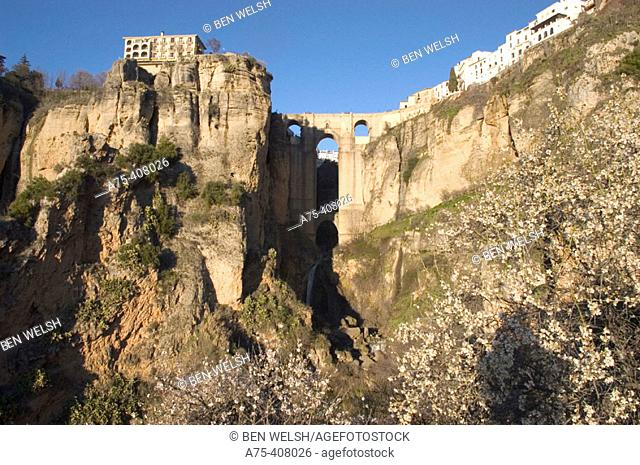 Puente Nuevo (new bridge) on 'tajo' gorge. Ronda. Málaga province, Spain