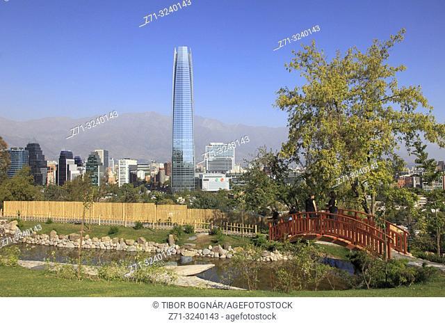 Chile, Santiago, Japanese Garden, Costanera Center, Gran Torre Santiago, skyline,