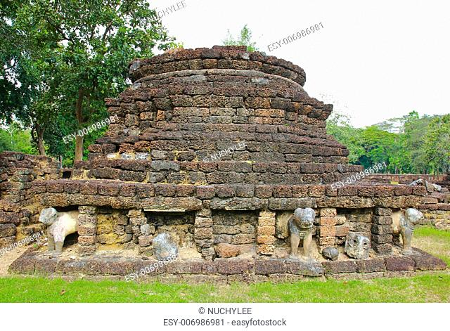 The ruins of the temple in history park sisatchanalai, Sukhothai