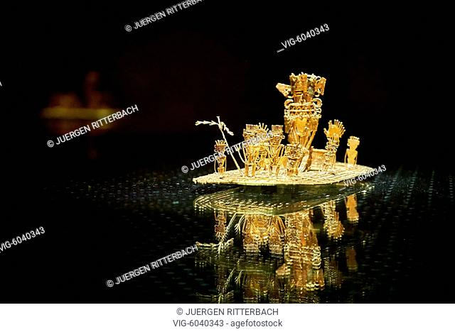 Muisca raft in Gold Museum or Museo del Oro, Bogota, Colombia, South America - Bogota, Colombia, 18/08/2017