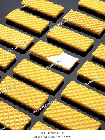 High angle view of cookies in a row