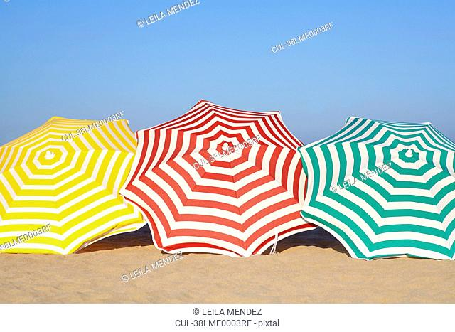 Colorful umbrellas on beach