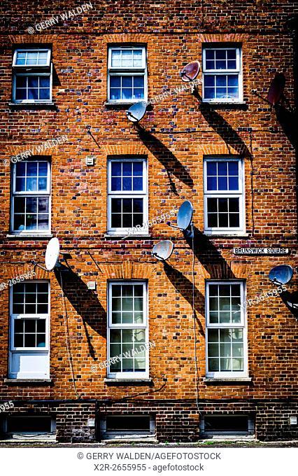 Satellite Dishes and Shadows (Brunswick Square, Southampton)