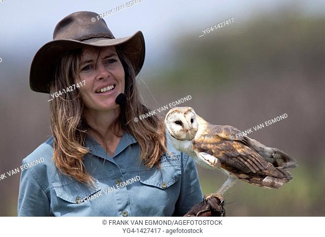 Shannon Hoffman showing a barn owl during her flight display show  The shows are aimed at educating children and adults and have a strong conservation message...
