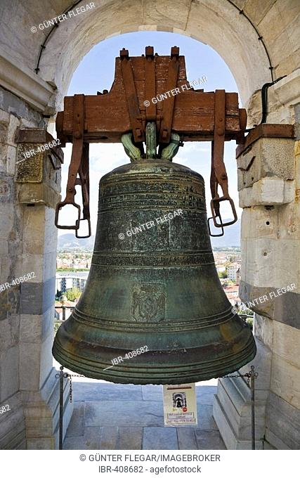 Bell in the Leaning tower of Pisa Piazza dei Miracoli Pisa Tuscany Italy