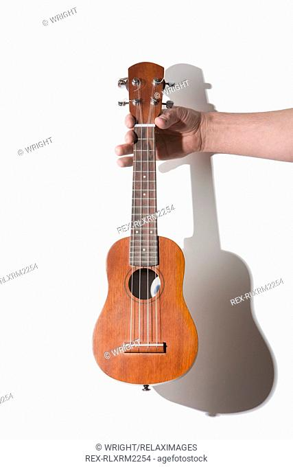 Man holding ukulele against white background, Munich, Germany