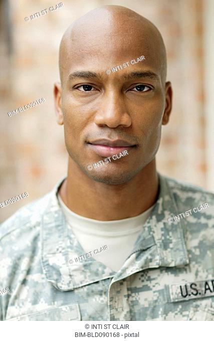 Serious Black soldier in uniform