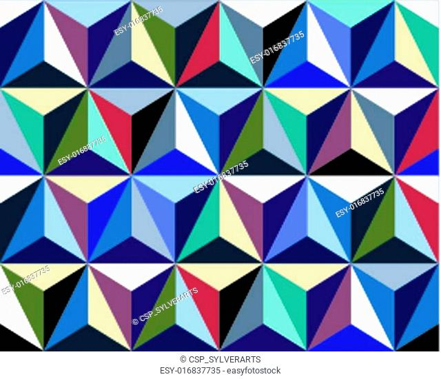 Triangles seamless pattern, colorful 3d vector background