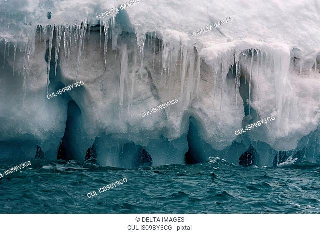 Arctic ocean ice and icicles, detail, Brasvellbreen, south of Austfonna ice cap, Nordaustlandet, Svalbard, Norway