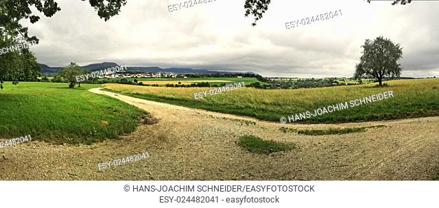 panoramic view to the Swabian highlands in Germany