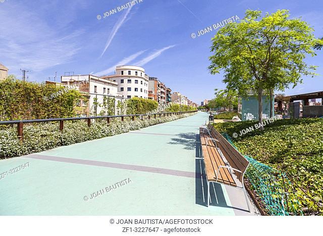 Modern architecture,Gardens of Rambla of Sants,Barcelona
