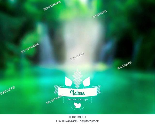 Lake view. Waterfall. Retro label design with leaves and ribbon. Retro backdrop. Blur. Maritime. Vector waterfall
