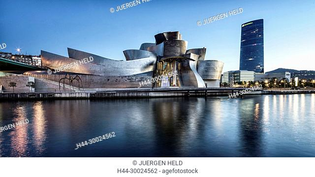 Panorama of Guggenheim Museum Bilbao , museum of modern and contemporary art , architect Frank Gehry , Nervion river, Bilbao, Basque Country