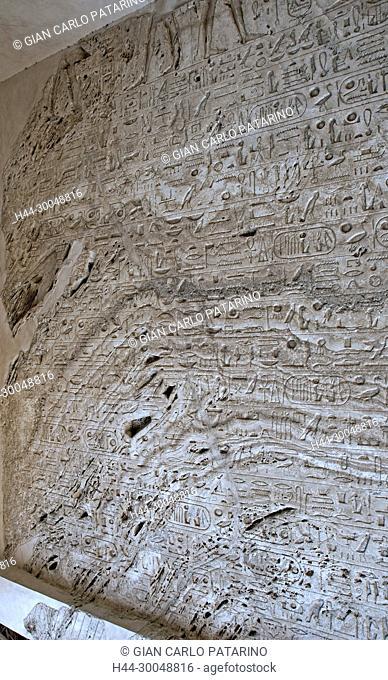 Karnak, Luxor, Egypt. Temple of Karnak sacred to god Amon: block of alabaster carved with hieroglyps and the cartouches of Usermaatra Setepenra RamsesII