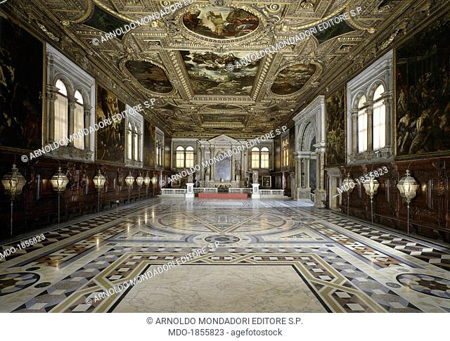 Upper Hall and Treasury, by Jacopo Robusti said Tintoretto, 1576, 16th century. Italy, Veneto, Venice, Scuola Grande di San Rocco. Whole artwork view