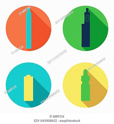 Rounded Vape icons set on a white background. Can be used for advertising vape shop, electronic cigarettes store.Vector Illustration