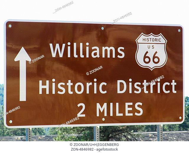williams and route 66 sign