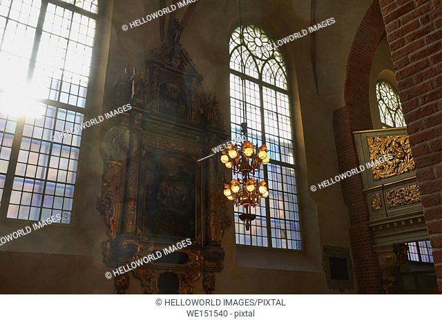 Sunlight streaming through windows of Storkyrkan, Stockholm's Cathedral, Gamla Stan, Stockholm, Sweden, Scandinavia