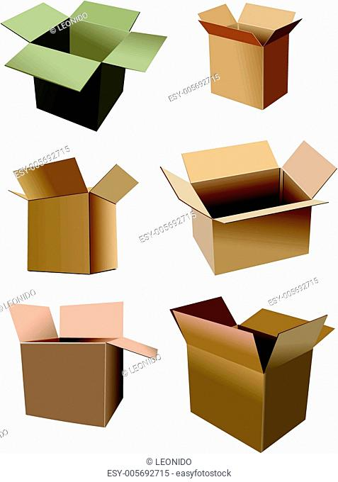 Set of carton boxes isolated over a white background